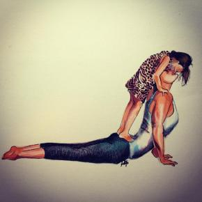 Yoga Art - Mother and Son - Elena