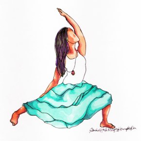 Yoga Art- Reverse Warrior in a Turquoise Dress